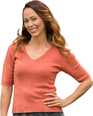 Veronica. 100% Hemp V Neck Knit Top